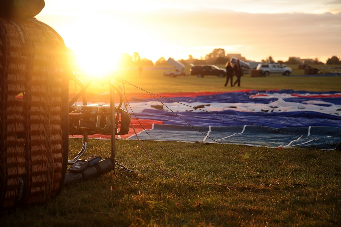 Setting up for a morning balloon flight at Ashton Court Estate