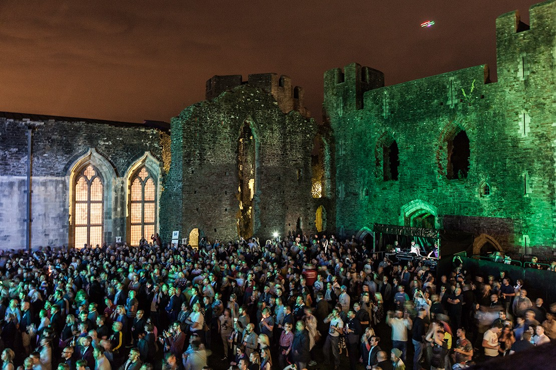 Caerphilly Castle Wales fireworks