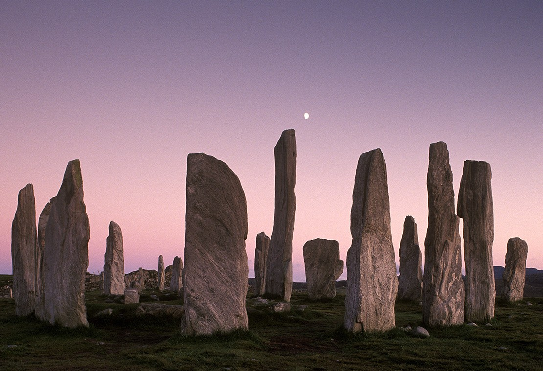 Calanais Standing Stones at dusk, on the Isle of Lewis, Outer Hebrides, Scotland