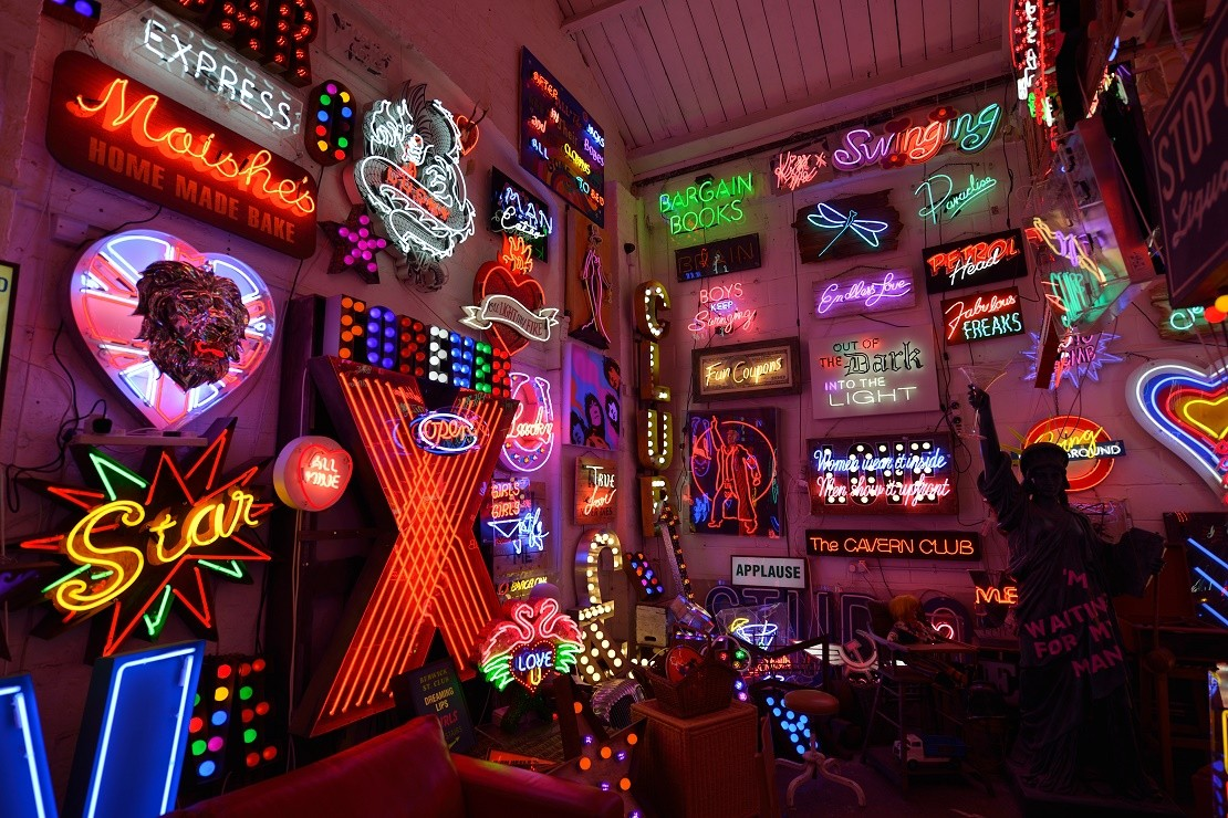 Neon lights on display at God's Own Junkyard, London