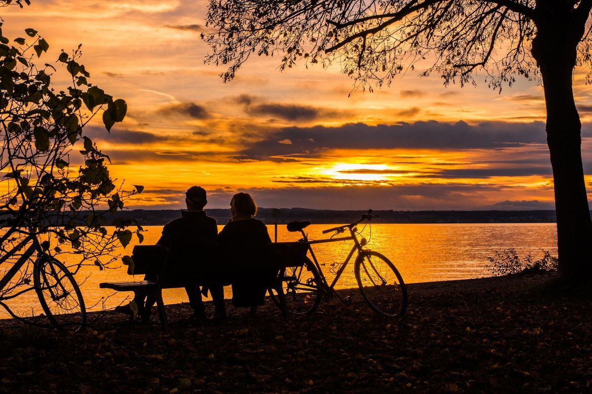 Romantic couple by sunset