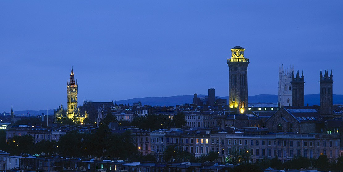 View of Glasgow city at night