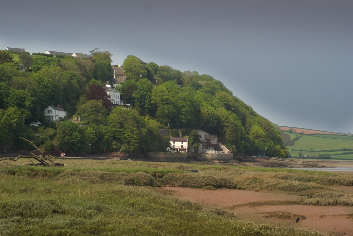 Laugharne Wales. Dylan Thomas boat house. West Wales coastline