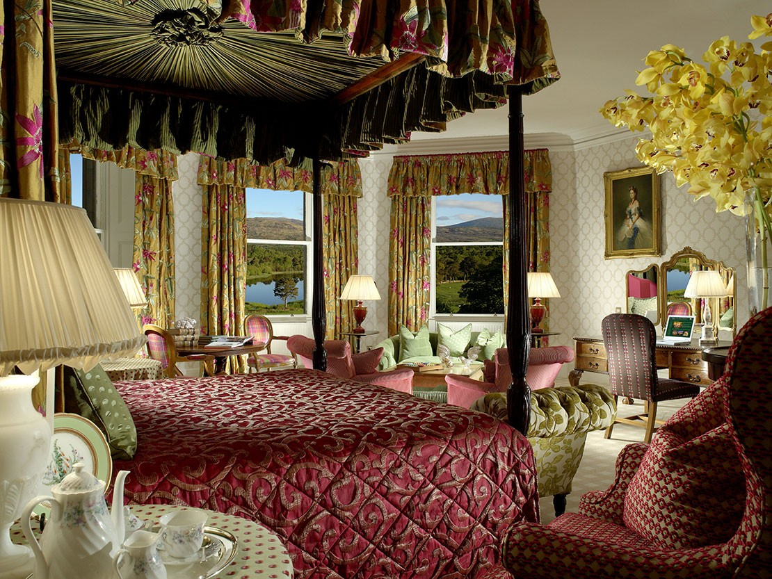 The Queen's Bedroom at Inverlochy Castle Hotel, Scotland