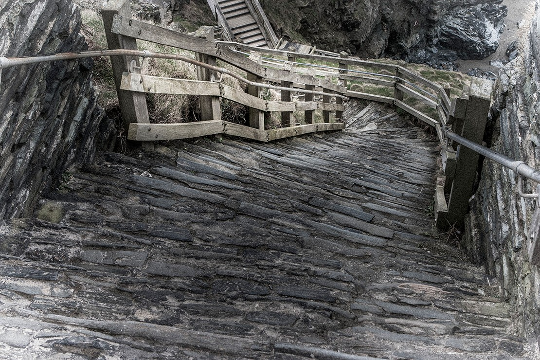 Rough steps at Tintagel Castle in Cornwall, England
