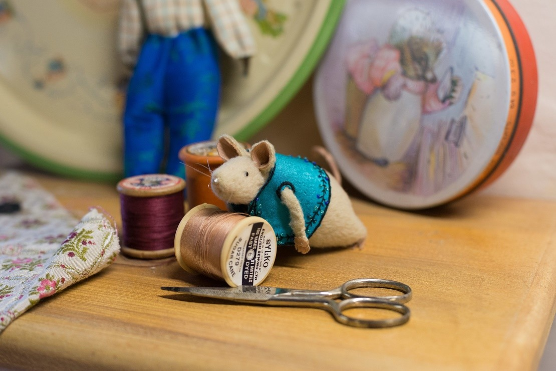 Mini mouse with sewing equipment at the Tailor of Gloucester's house