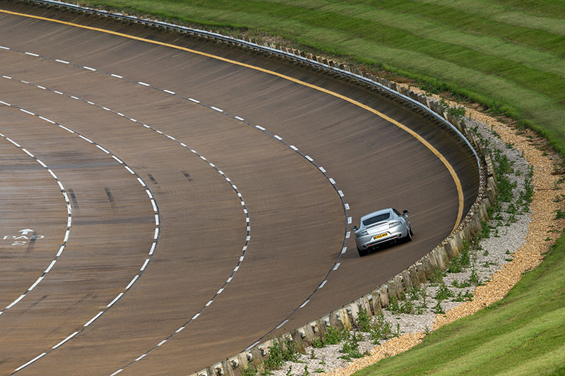 An Aston Martin in the bowl at Millbrook proving ground