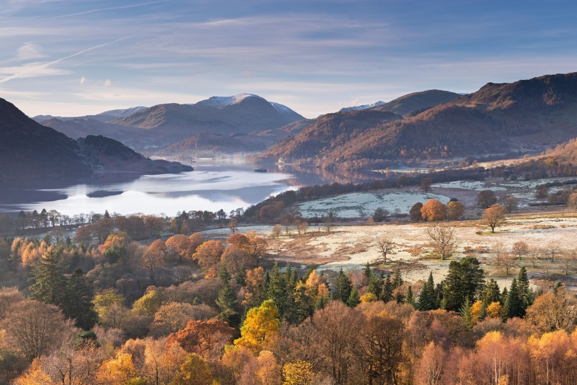 Ullswater from Gowbarrow Fell on a frosty autumn morning, Lake District,