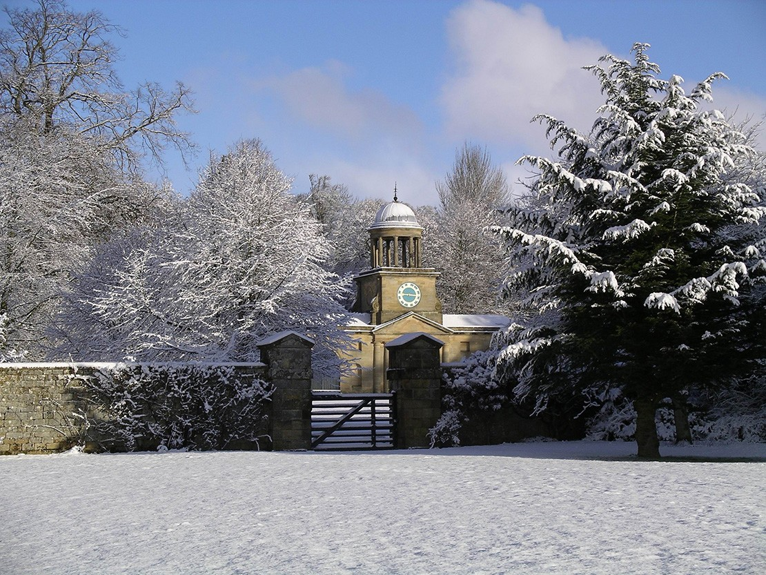 Wallington Clock Tower in the snow