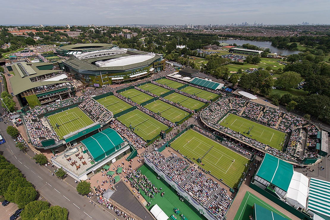 Aerial shot of Wimbledon courts