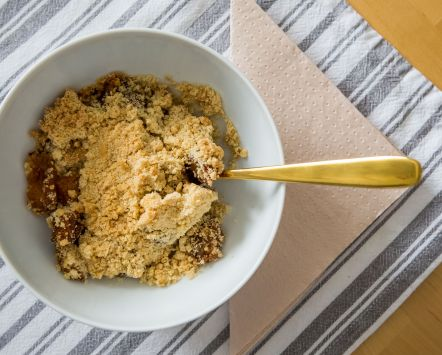 Apple Crumble with a stripey cloth
