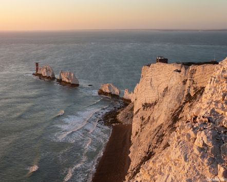 The Needles are five isolated rocks in a line reaching out in the sea, off the coast of the Isle of Wight close to Alum Bay - credit to VisitBritain/ Adam Burton