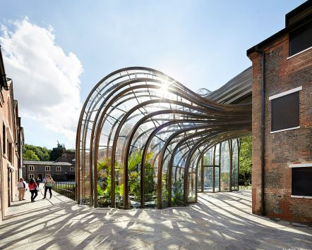 Bombay Sapphire distillery, Whitchurch, Hampshire, England. Famed for its glass panels and Victorian architecture.