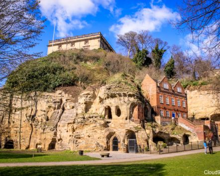 Nottingham Castle's Ducal Palace above Castle Rock showing the caves. Credit to Cloud9 Designs