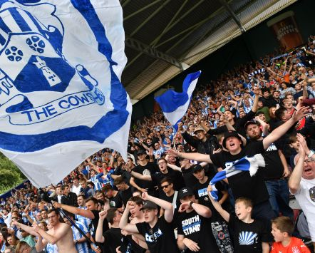 Football supporters a Huddersfield Town A.F.C. match in Britain