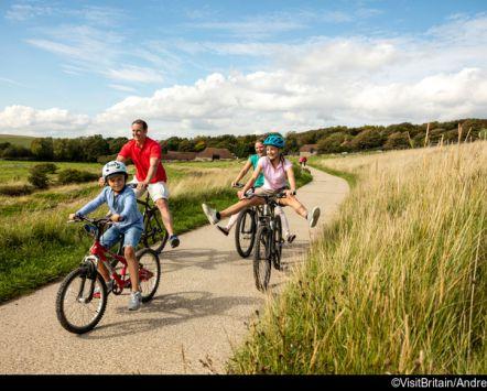 Famiglia che va in bici su un campo di giorno