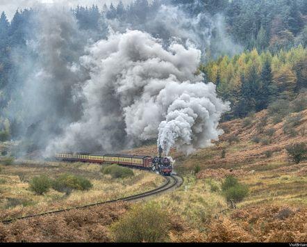 Steam train on North Yorkshire