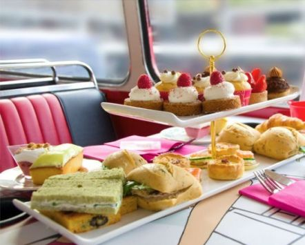 Afternoon tea on a bus