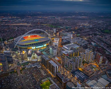 Aerial photograph of Wembley Stadium and Brent, London Borough of Culture 2020
