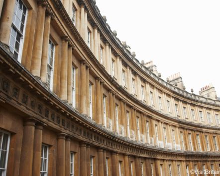 The city of Bath, a UNESCO historic world heritage site, and a town full of visitor attractions. Georgian architecture. Houses made from the locally quarried Bath stone.