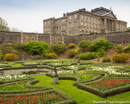 A view of the house above the Dutch Garden at Lyme Park, Cheshire.