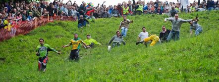 Cheese rolling festival, Coopers Hill, Gloucestershire, England