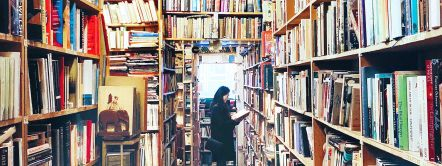 Interior view of Armchair Bookshop, Edinburgh, Scotland.
