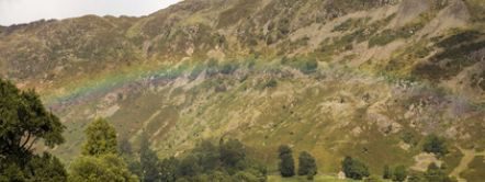Rainbow over the lake, Ullswater, Lake District, Cumbria.