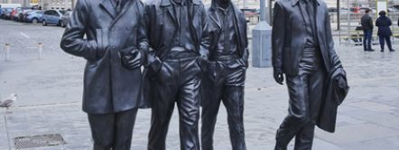 The Beatles Statue, Pier Head, Liverpool, Merseyside, UK.