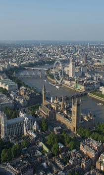 London Skyline. The view to the east along the River Thames from the Palace of Westminster, the Houses of Parliament and Westminster abbey.