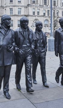 The Beatles Statue, Pier Head, Liverpool, Merseyside, UK.