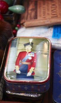 Queen Elizabeth tin, Spitalfields market, East London