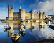 Caernarfon castle overlooking the Menai straits, Wales.