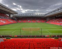 Liverpool Football Club, Liverpool FC. The Anfield Football stadium. View over the pitch and the spectator seating. Credit to VisitBritain/ Rod Edwards