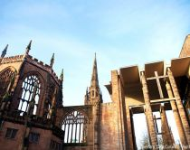 Medieval architecture next to the modern Coventry Cathedral