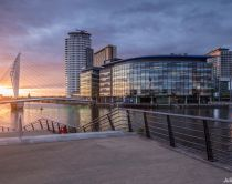 MediaCityUK on the banks of the Manchester Ship Canal in Salford and Trafford, Greater Manchester.