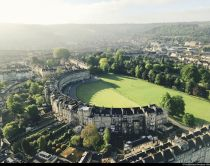 View from a hot air balloon of the Royal Crescent, Bath, England.