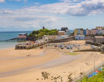 North Beach is a wide sandy beach in Tenby in Carmathern Bay. It is a blue flag beach.