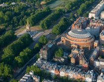 The Royal Albert Hall, London. A round concert hall and memorial to Prince Albert, built by his Queen Victoria, in the 19th century