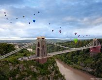 Clifton Suspension Bridge with hot air balloons