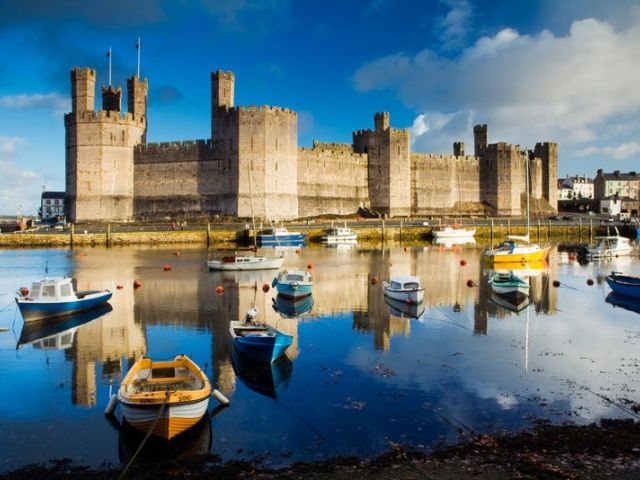 Caernarfon castle overlooking the Menai straits, Wales