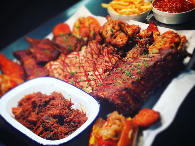 A plate of food served a the Branded Bar & BBQ in Hull, England