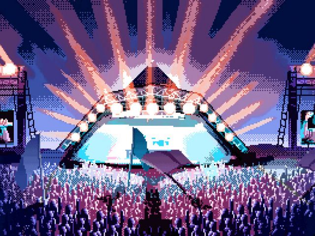 Glastonbury in pixel art