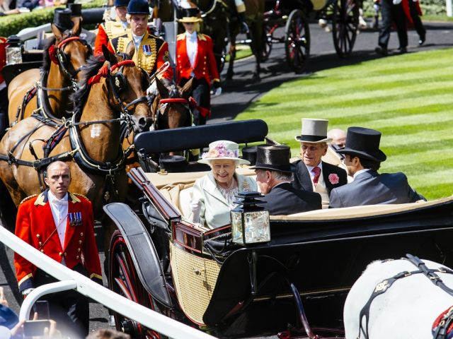 Royal Ascot Race Meeting at the prestigious Ascot racecourse in Berkshire. Royal Procession. Arrival of members of the Royal Family.
