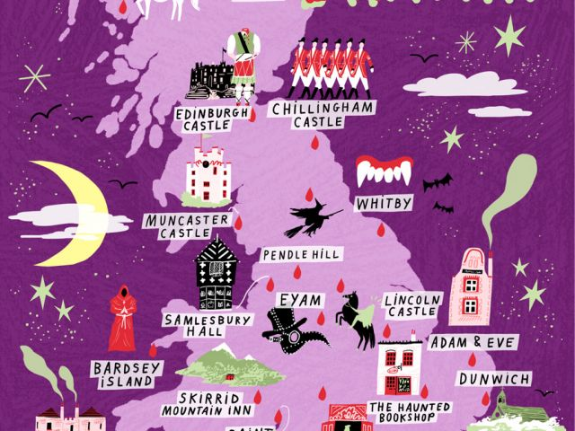 Haunted places in Britain map