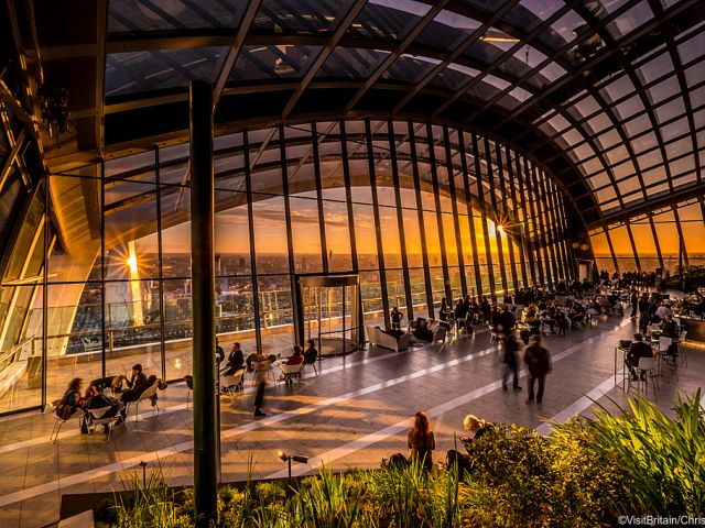 Sky garden terrace in the centre of the city o f