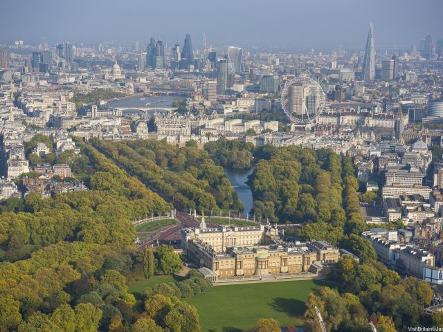 Aerial view to Buckingham Palace, London, England.