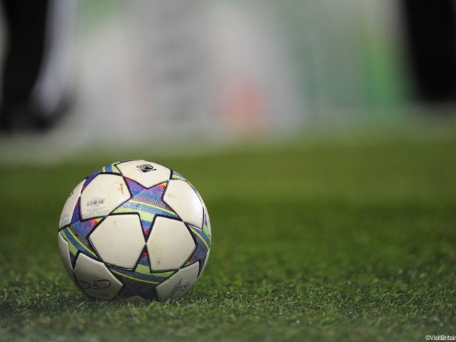 A football on a pitch
