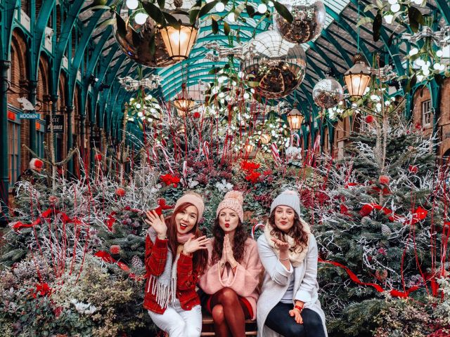Dickensian girl and Christmas tree York Castle museum