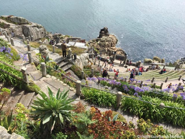 View from the top of the Minack Theatre, Cornwall, England